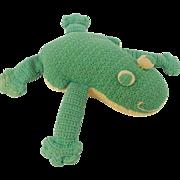 Funky Vintage Hand Made Primitive Folk Art Frog Stuffed Toy