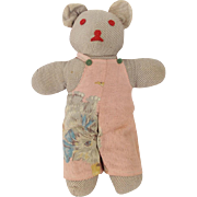 Cute Vintage Hand Made Folk Art Teddy Bear in PInk Overalls