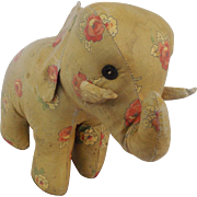 Vintage Primitive Folk Art Floral Pattern Oil Cloth Stuffed Elephant Toy