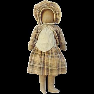 Late 19th Century  Hand Made Primitive Folk Art Horse Hair Stuffed Pioneer Rag Doll