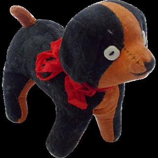 Vintage Primitive Folk Art Orange & Black Velveteen Straw-Stuffed Toy Dog
