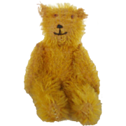 "Tiny 4"" Vintage German Gold Mohair Jointed Teddy Bear"