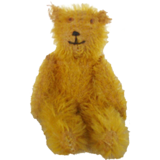 "Tiny 4"" Vintage German Gold Mohair Jointed Teddy Bear"
