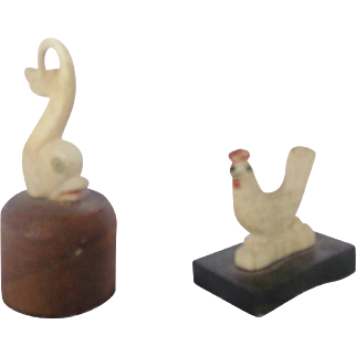 Tiny 19th C. Primitive Folk Art Carved Bone Dolphin & Chicken Game Pieces