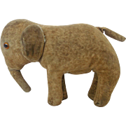 Antique Hand Made Primitive Folk Art Velveteen Straw Stuffed ElephantToy