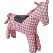 Vintage Folk Art Gingham Horse Stuffed Toy From My Collection