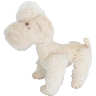 Cute Vintage Jointed White Mohair Poodle Dog Stuffed Toy
