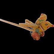 Vintage Hand Made Primitive Folk Art Flying Bird Push Toy