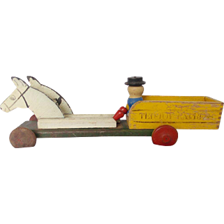 Vintage Ted Toy Express Horse and Cart Toy