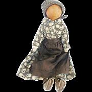 Antique C. 1870's Super Primitive Folk Art Gourd Head Doll