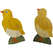 Pair of Vintage Primitive Baby Chick Squeak Toys