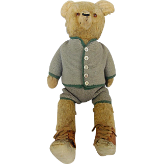 """Vintage 23"""" Well Loved Tan Mohair Teddy Bear in Knit Outfit & Leather Shoes"""