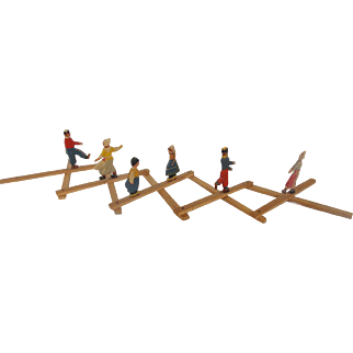 Vintage Dutch Folk Art Wood Figural Skating Toy