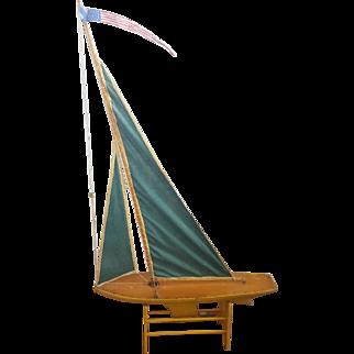 """Vintage Primitive Folk Art Pond Sailboat Named """"Corsair"""""""