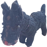 Well Loved Vintage Primitive Black Mohair Scottie Dog Toy With Articulated Head