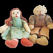 Vintage Mid 20th C. Folk Art Raggedy Ann & Andy Dolls