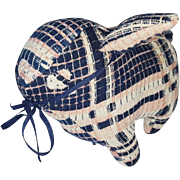 Vintage Folk Art Lamb Made of Antique Coverlet From My Collection