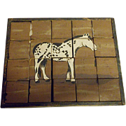 Vintage Hand Made Primitive Folk Art Block Puzzle With Images of Horses