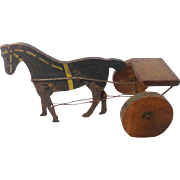 Antique Primitive Folk Art Articulated Horse and Cart Toy