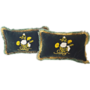 Pair Vintage Near Mint Green Velveteen Pillows With Ribbon Work & Embroidered Floral Design