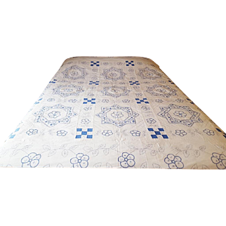 Vintage Periwinkle Blue Work Embroidered Summer Quilt Bed Cover