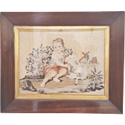 Antique 1860's English Petit Point Depiction of Young Jesus and the Lamb of God
