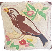 Vintage Folk Art Bird & Flowers Design Hooked Pillow