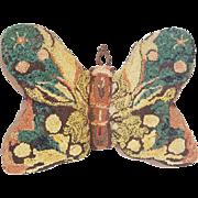 Unique Vintage Folk Art Butterfly Hooked Pillow