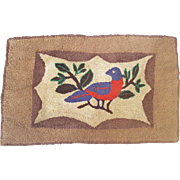 Vintage Folk Art Hooked Rug With Red & Blue Bird Design