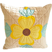 Vintage Hand Made Folk Art Quilted Stylized Sunflower Design Pillow