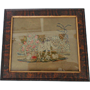 Antique Victorian Petit Point of Mama Cat, Kittens, and Rabbit