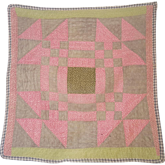 Antique C. 1870's PA. Folk Art True Crib Quilt From My Collection