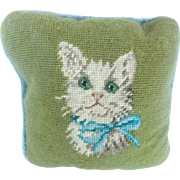 Diminutive Vintage Needlepoint Pillow With White Cat in Blue Bow