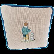 Diminutive Vintage Needlepoint Pillow With Boy & Begging Dog Design