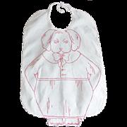 """Antique Victorian Redwork """"Grumpy Puppy"""" Baby Bib"""