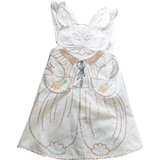 Vintage Embroidered Child's Apron with Embroidered Bunny Rabbit