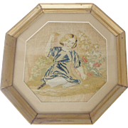 Early 19th C. Georgian Silk Embroidery of Child in Garden With Basket of Pears