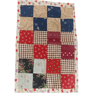 Tiny Vintage Hand Made Folk Art Doll Quilt in Great Early Fabrics