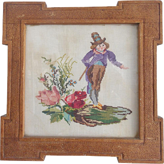 Vintage Embroidery Picture of Leprechaun in Hand Carved Folk Art Frame