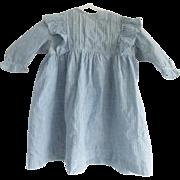 Early 1900's Blue & White Homespun Infant Child's Dress