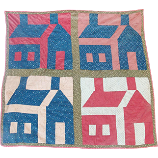 Graphic Antique Late 19th Century Folk Art Schoolhouse Crib Quilt From My Collection