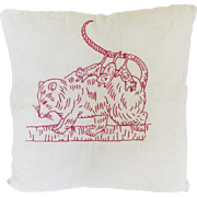 Vintage Folk Art Redwork Embroidery Pillow With Mama and 3 Baby Possums