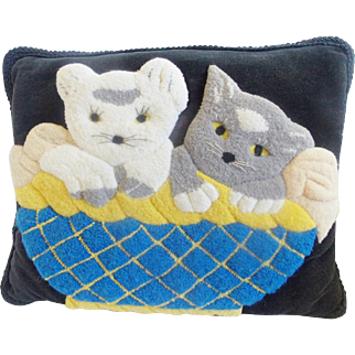Vintage Kittens in Basket Design Hooked Pillow from my Collection