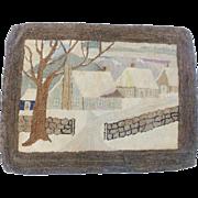 Vintage Folk Art Hand Made Folk Art Winter Scene Hooked Rug