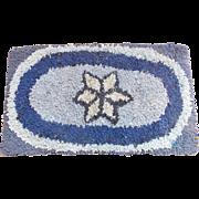 Vintage Primitive Folk Art Star Design Hooked Rug