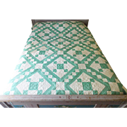 Pristine 1930's Folk Art Green & White Geometric Patchwork Quilt