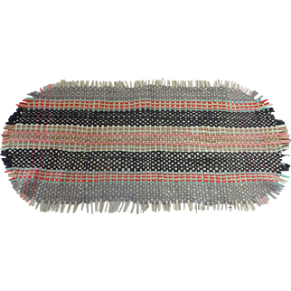 Large Vintage Primitive Folk Art Woven Wool Felt Table Runner