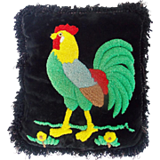 Vintage Folk Art Hooked Pillow With Rooster Design From My Collection