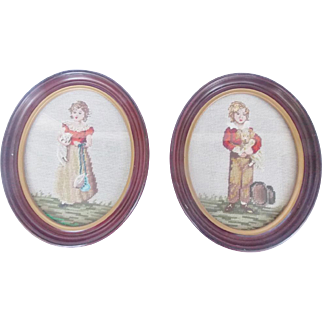 Pair of Vintage Needlepoint Pictures Girl with Kitten, Boy With Puppy