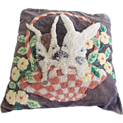 Vintage Folk Art Hooked Pillow With Bunnies in Basket Design From My Collection